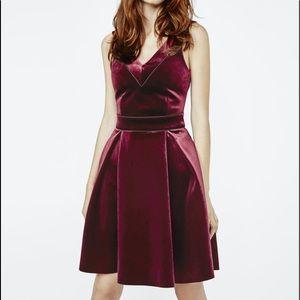 Maje burgundy skater dress. NWT